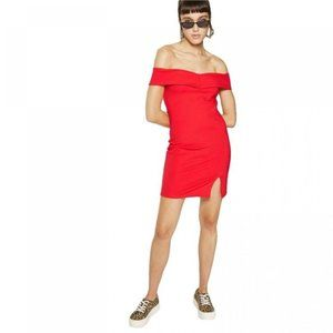 🎃NWT Wild Fable Red Off Shoulder Knit Mini Dress